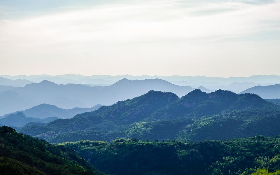 Mountain, Landscape, Green, Mist, China, Sky