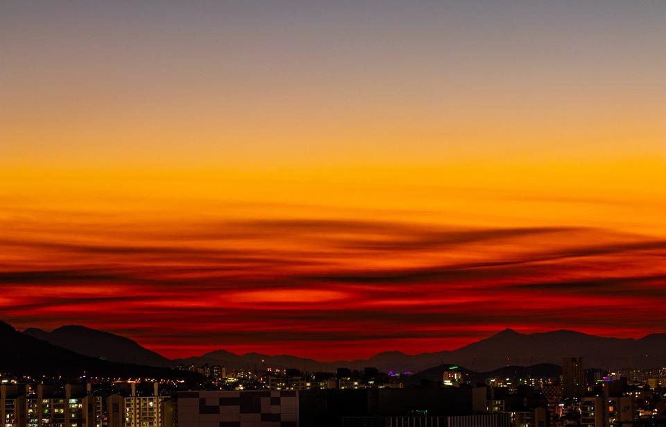 Sky, Sunset, City, City View, Mountain, Horizon