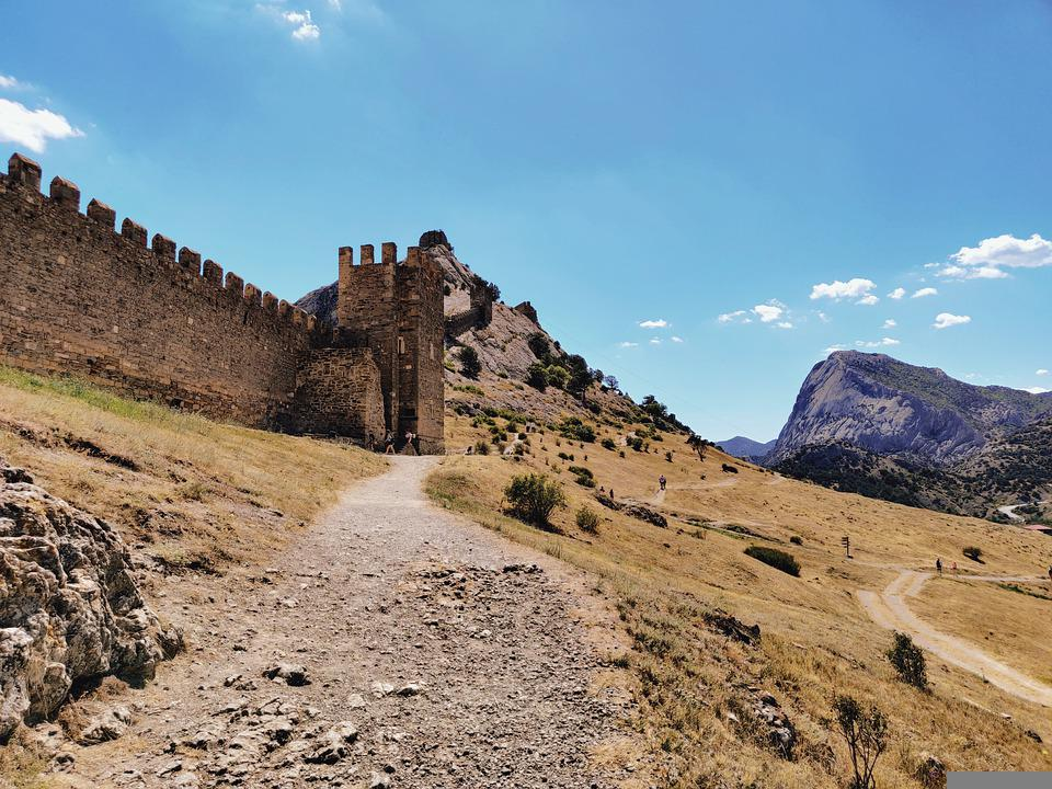 Mountain, Fortress, Castle, Landscape, Sky