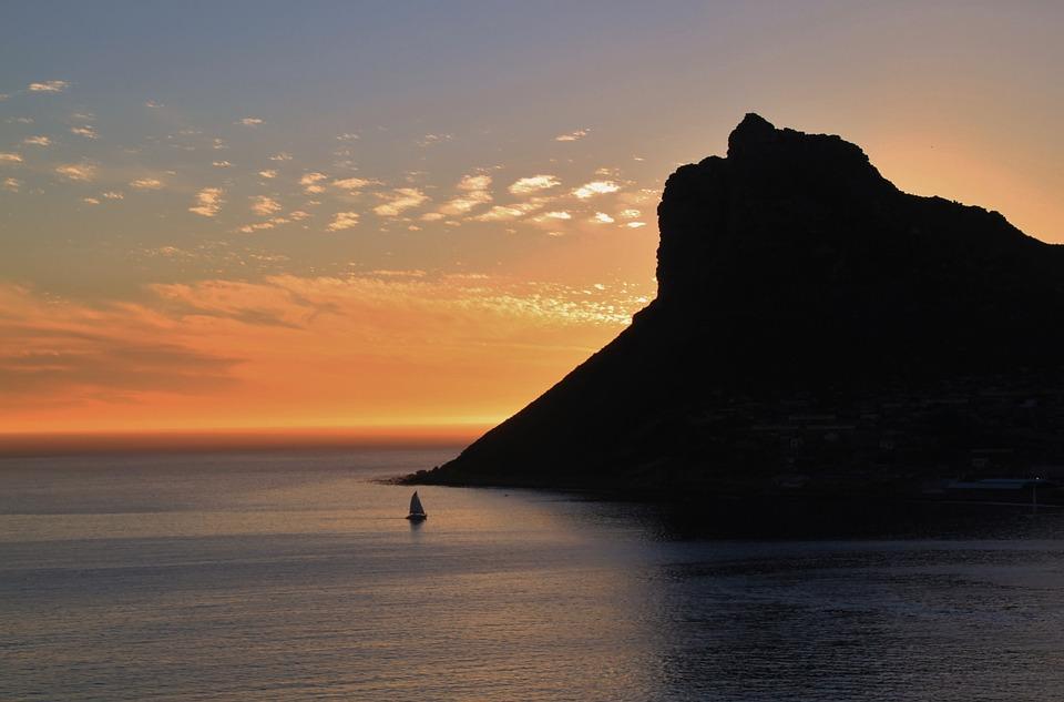 Ocean, Sea, Mountain, Sunset, Idyll, Vacations, Sky