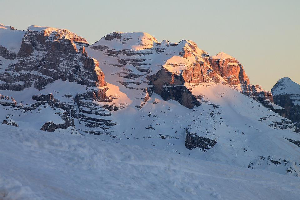 Dolomiti Di Brenta, Trentino, Mountain, Sunset, Snow