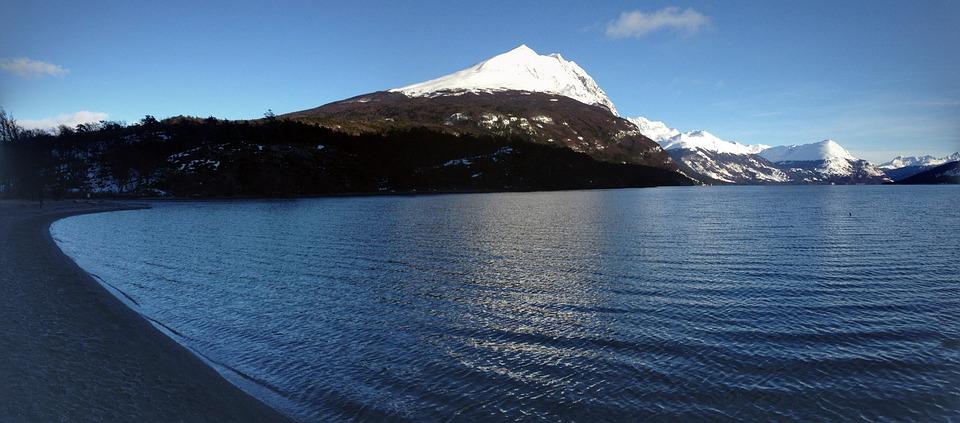 Snow, Body Of Water, Lake, Mountain, Widescreen