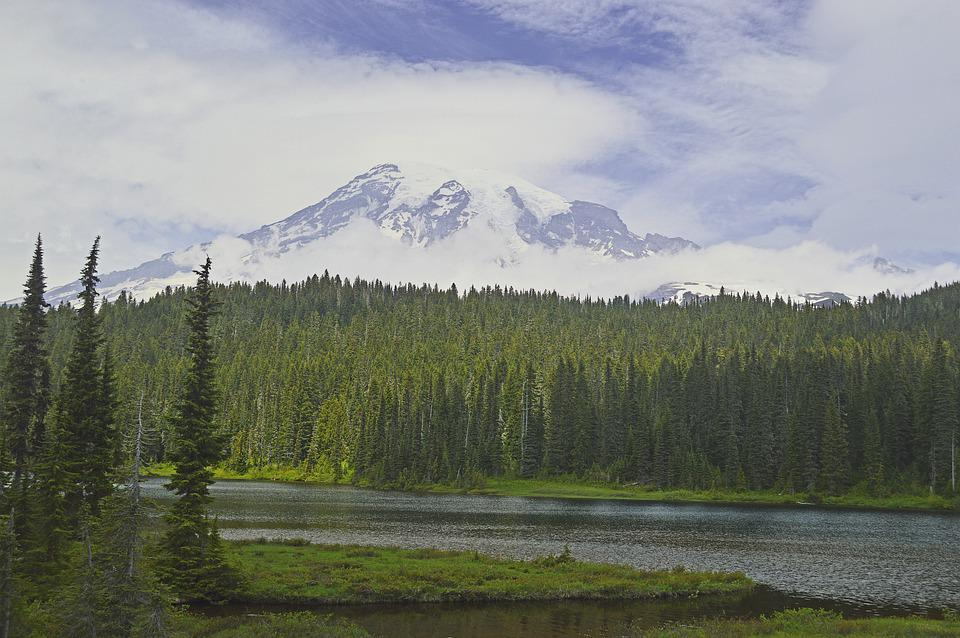 Mount Rainier, Stratovolcano, Volcano, Mountain, Lake