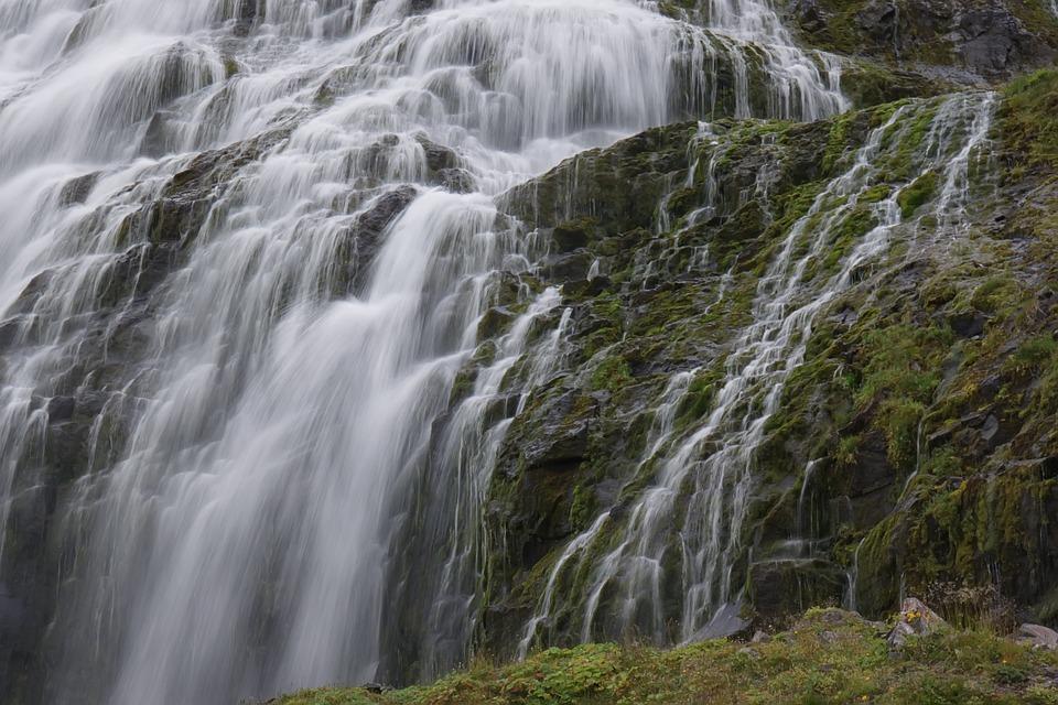 Waterfalls, Stream, Mountain, Water, Wilderness, Nature