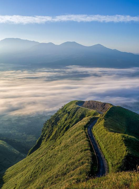 Mountain, Summit, Clouds, Sea Of Clouds, Mountain Road