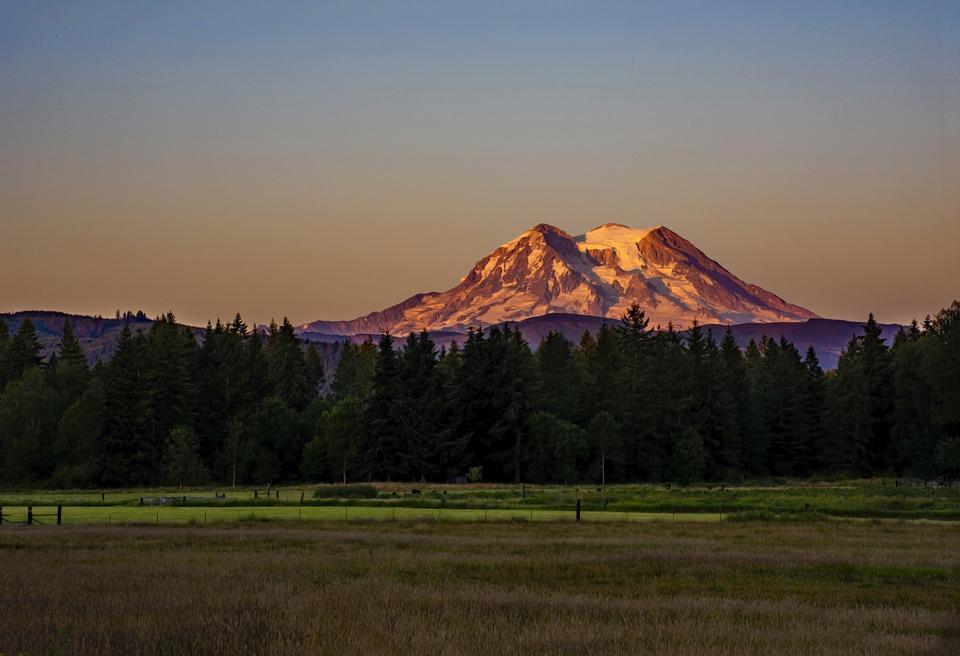 Mountain, Sunset, Mt Rainier, Cascade Range, Field