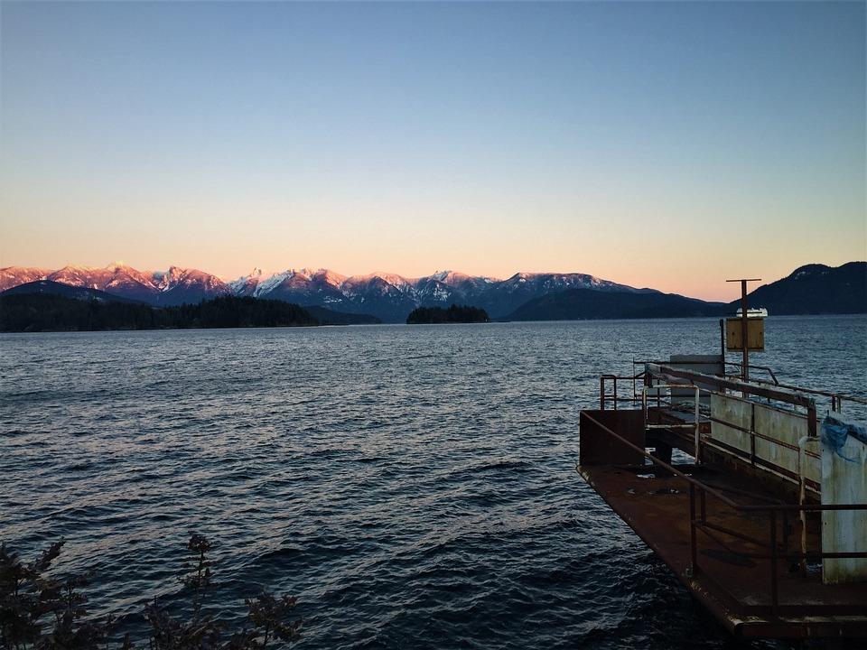 Mountain Sunset, Rusty Dock, Ocean Sunset