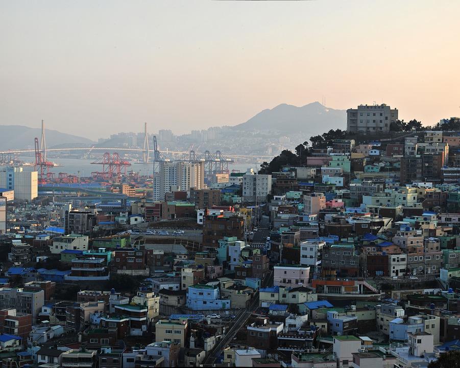 Busan, Mountain, Town, Home, Wharf, Bridge, Panorama