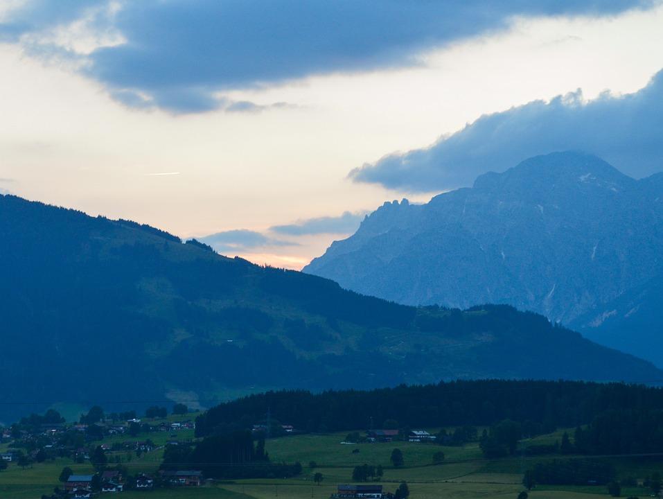 Landscape, Mountains, Austria, Blue, Air, White