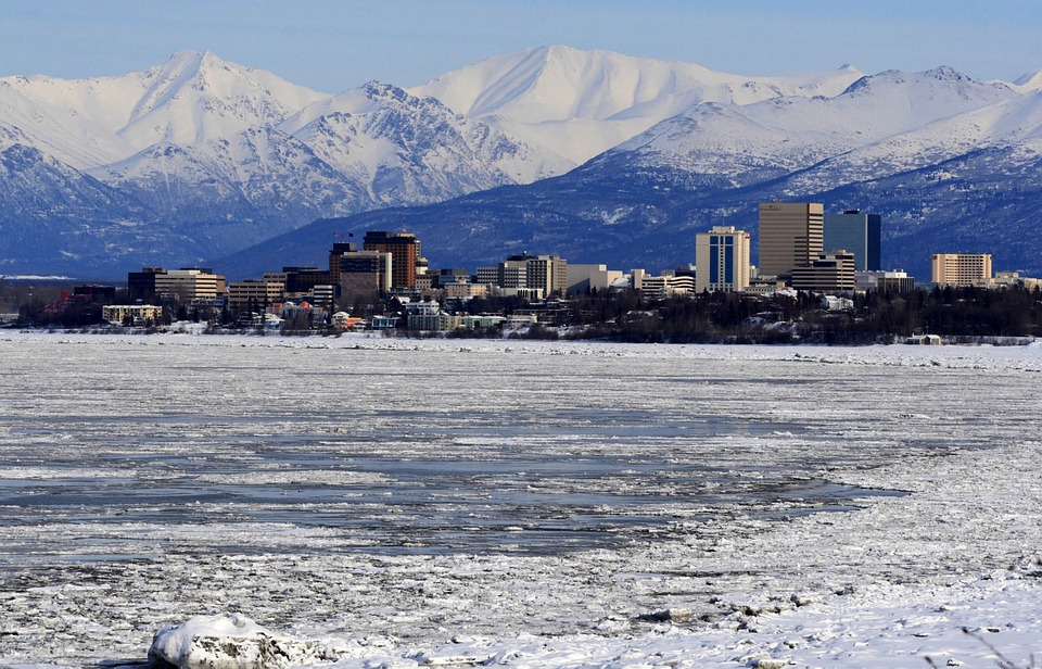 Anchorage, Alaska, Skyline, Mountains, Snow, Winter