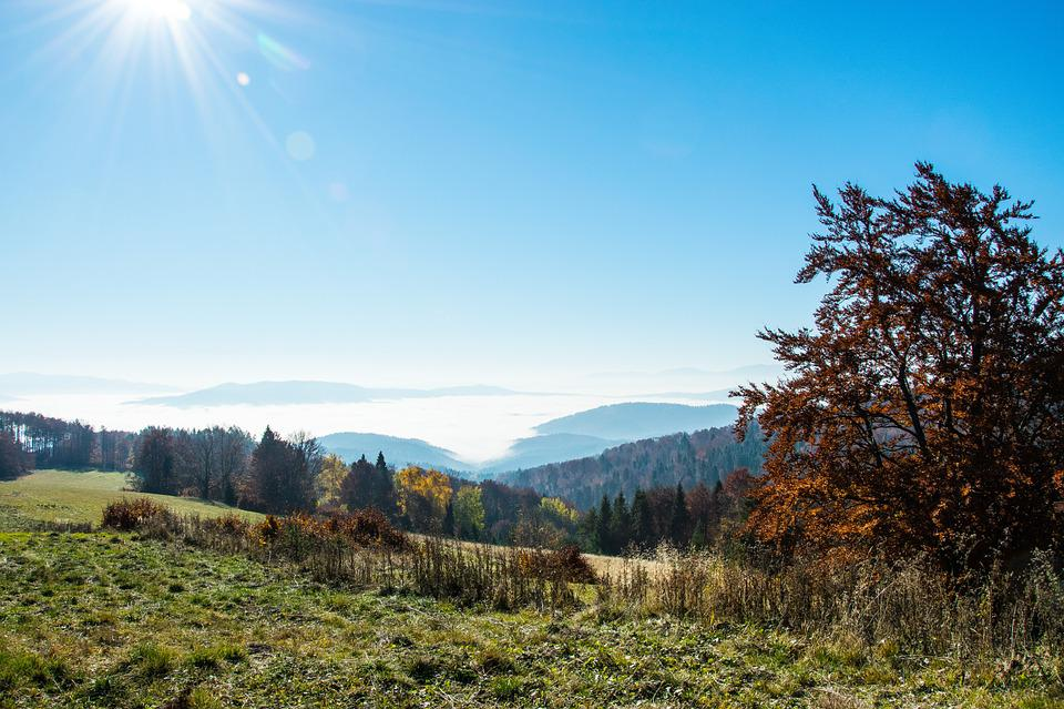 Mountains, Autumn, Panorama, Landscape, Beskids, Sky