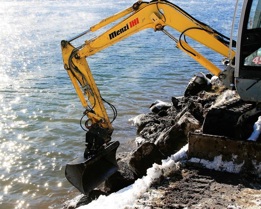 Excavator, Yellow, Lake, Beach, Snow, Mountains, Light