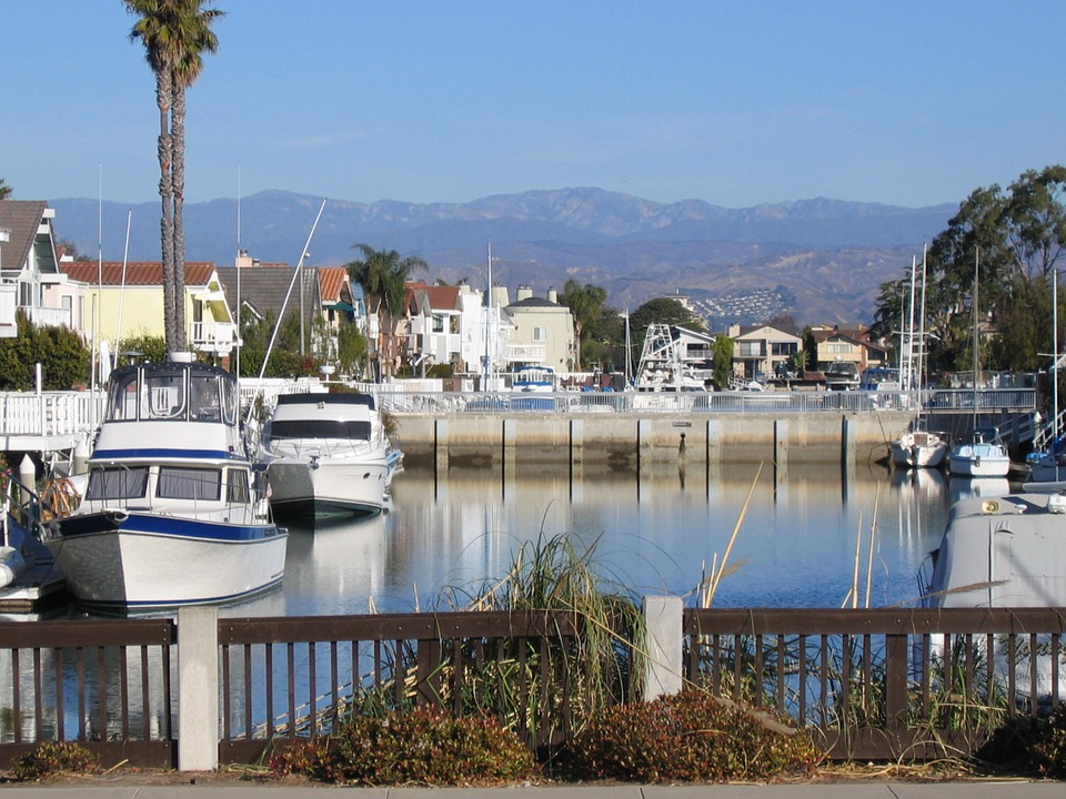 Oxnard, California, Marina, Boats, Mountains, Distance