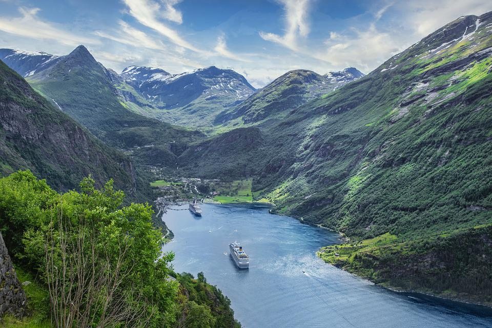 Ships, Sea, Mountains, Fjord, Inlet, Water, Port, Boats