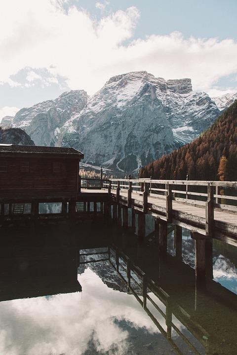 Lake, Bridge, Mountains, Wooden Bridge, Snow