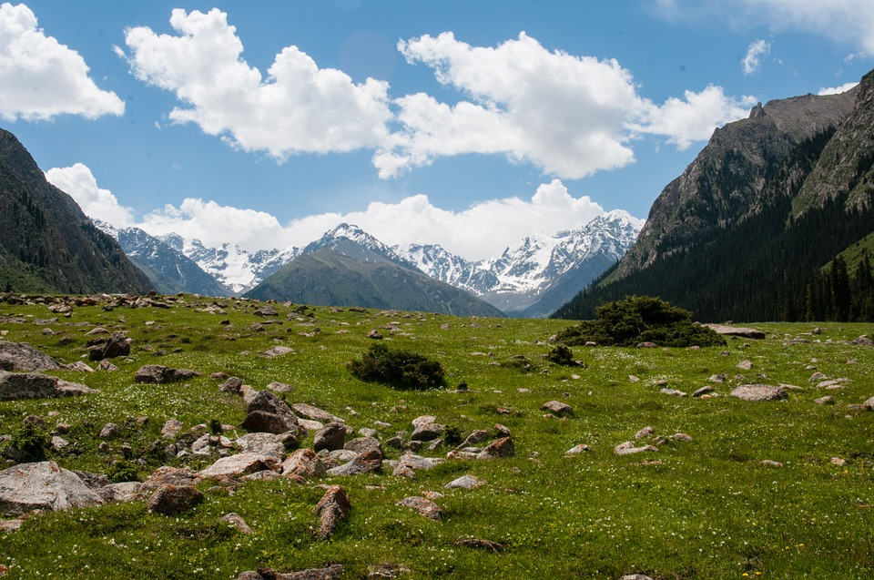 Mountains, Peak, Greens, Nature, Canyon, Kyrgyzstan