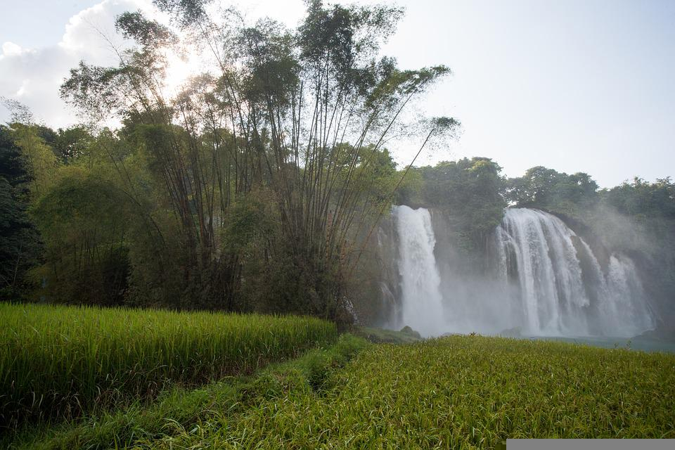 Mountains, Waterfall, Rice Fields, Nature, Cao Bang