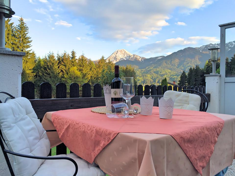 Mountains, Panorama, Wine, Holiday, Chairs, Restaurant