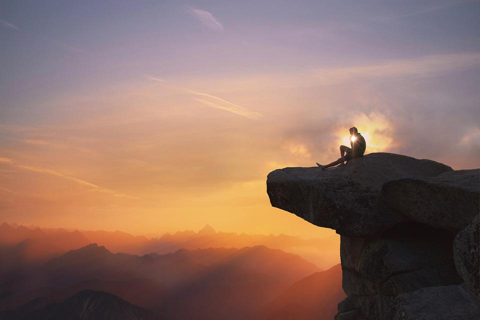 Mountains, Man, Cliff, Sunset, Silhouette, Backlighting