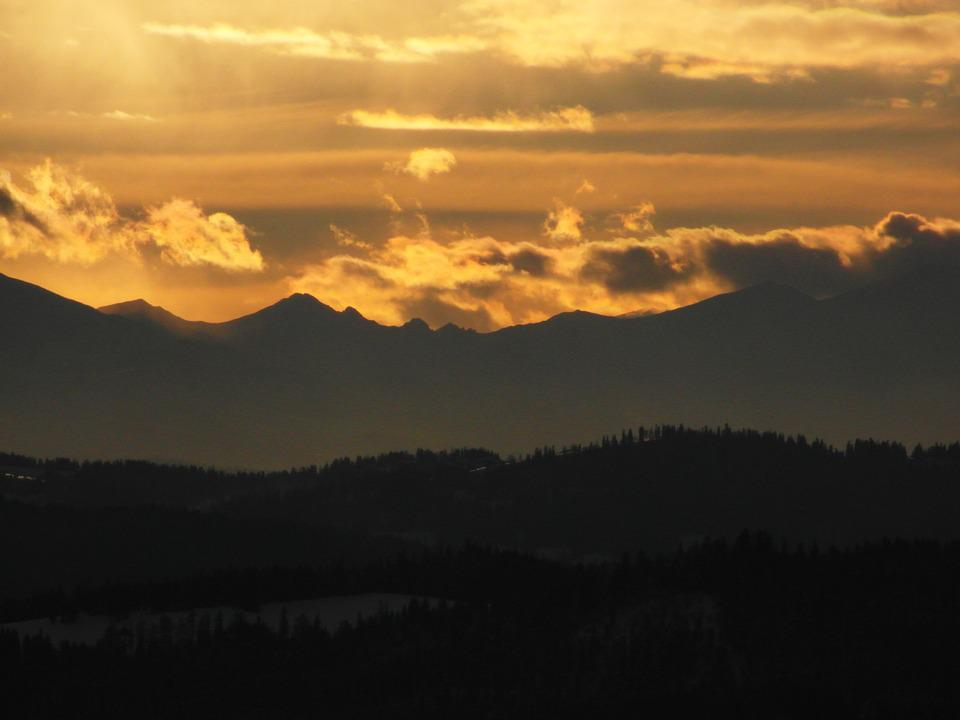 Tatry, Mountains, Sunset, Clouds, Landscape, Top View