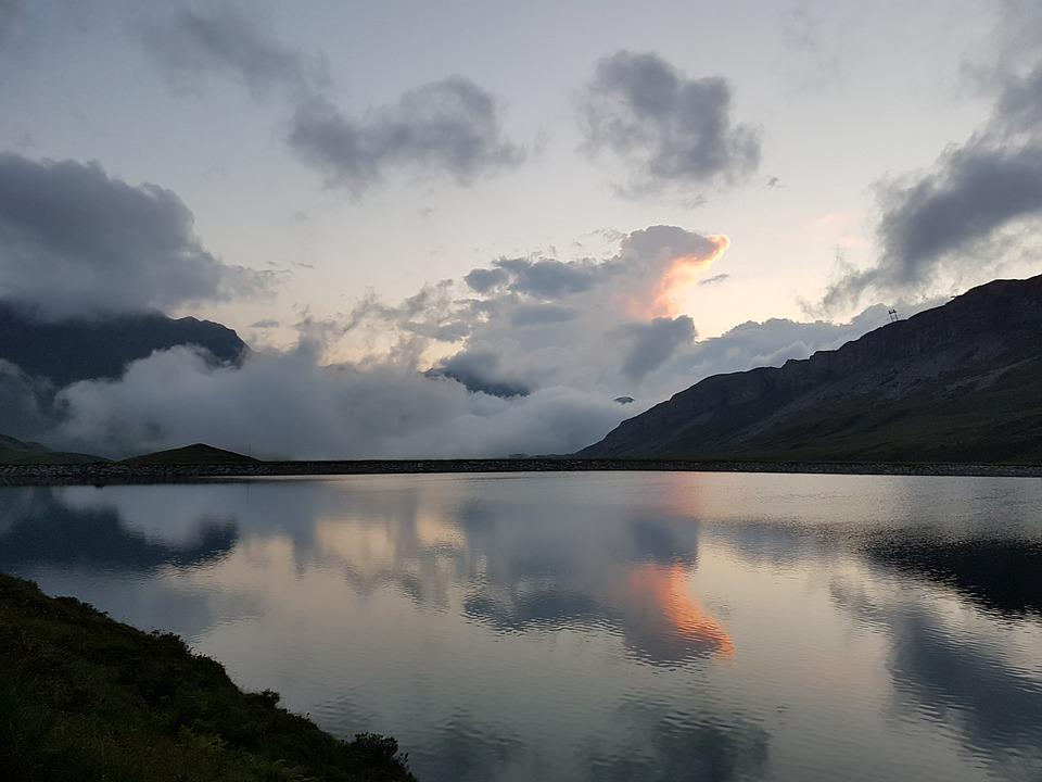 Bergsee, Melchsee-frutt, Mountains, Lake, Clouds