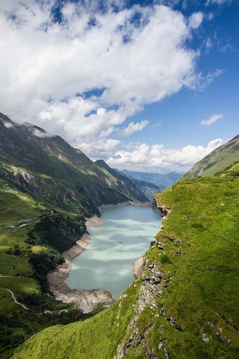 Reservoir, Mountains, Clouds, Water, More, Austria