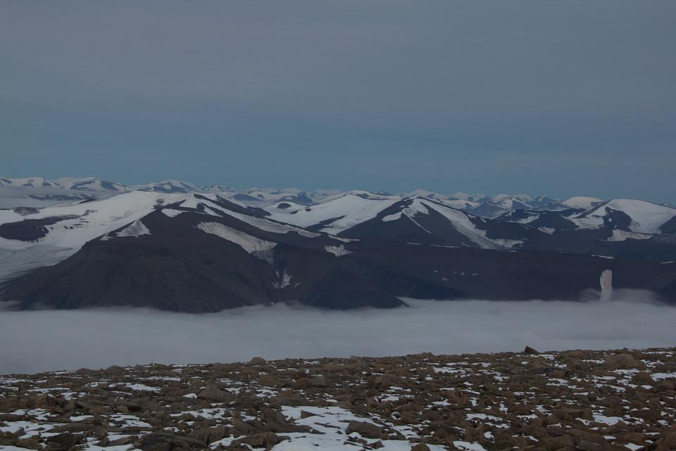 Mountains, Arctic, Svalbard, Clouds