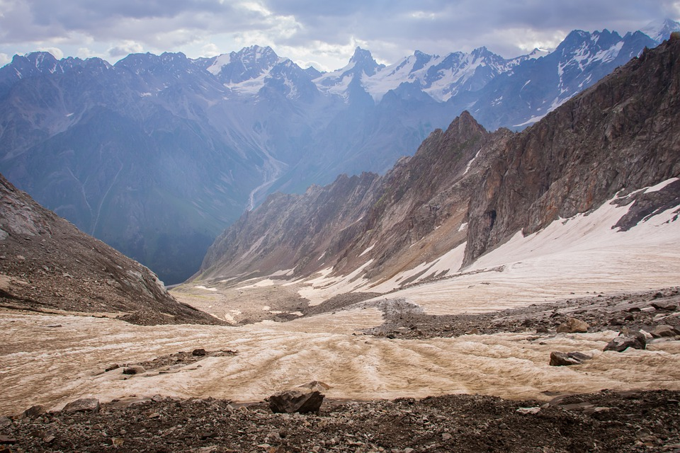 Russia, Mountains, Vertices, Glacier, Clouds, Travel