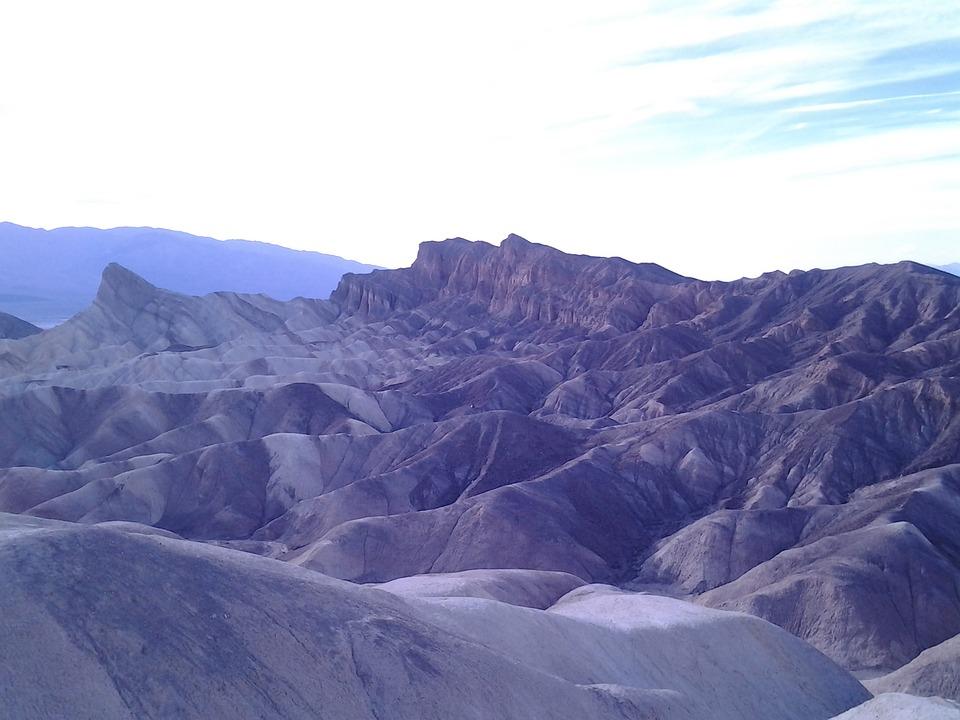 Death Valley Bad, Dunes, Sand, Mountains, Landscape