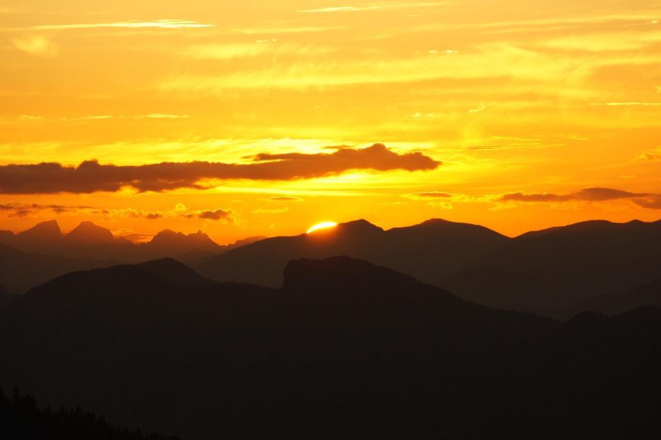 Abendstimmung, Mountains, Sunset, Alpine, Dusk