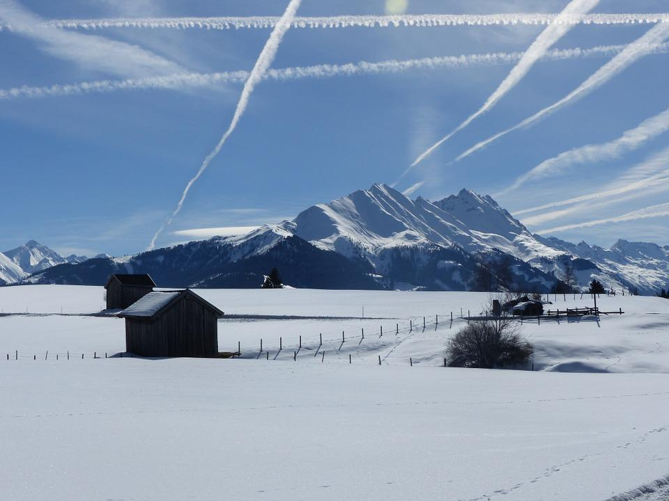 Snowfield, Heustadel, Mountains, Contrail, Sky