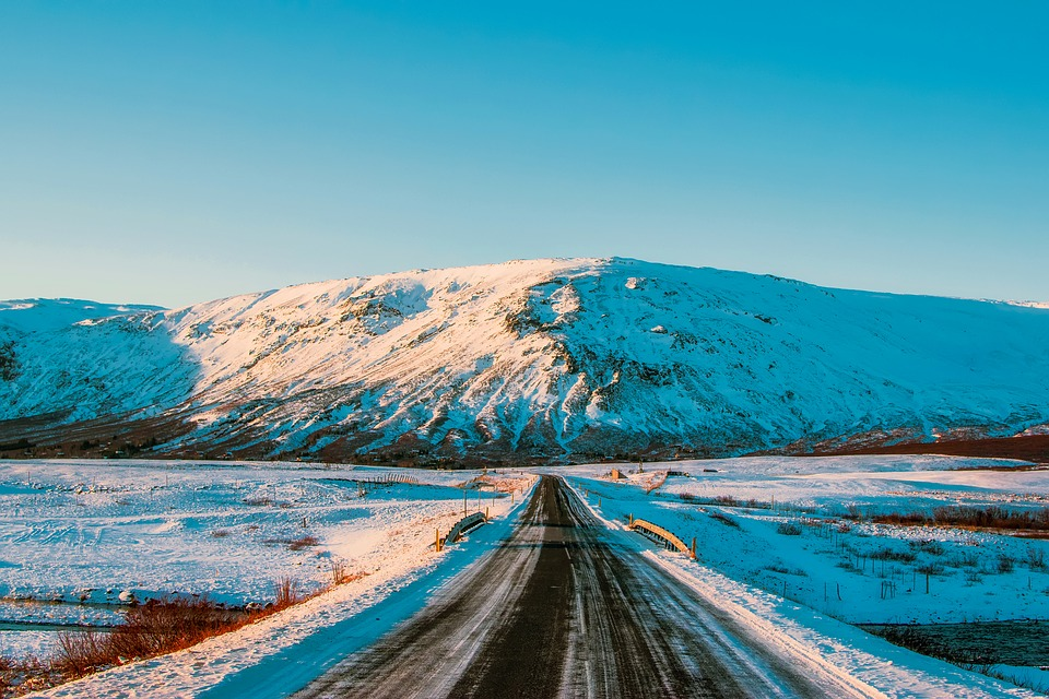 Iceland, Road, Highway, Mountains, Winter, Snow, Fields