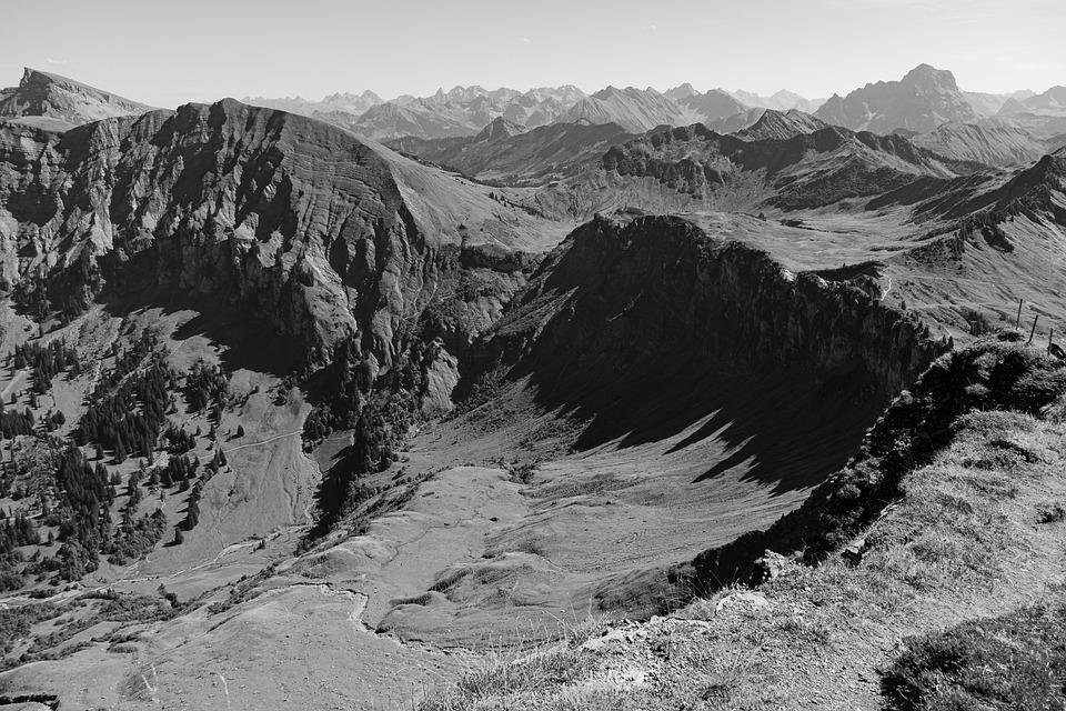 Mountains, Alpine, Black And White, Hiking