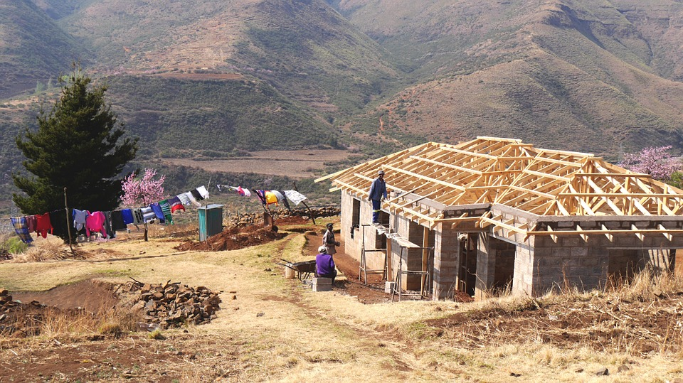 Lesotho, House Construction, Landscape, Mountains