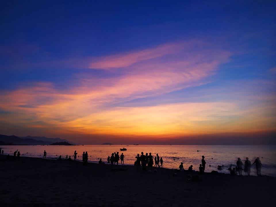Human, Sea, Swimming, Sky, Sunset, Ship, Mountains