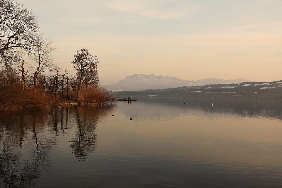Mountains, Mood, Sunset, Water, Idyllic, Trees, Nature