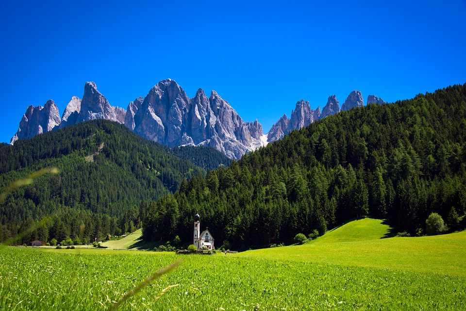Val Di Funes, Church, Italy, Nature, Mountains