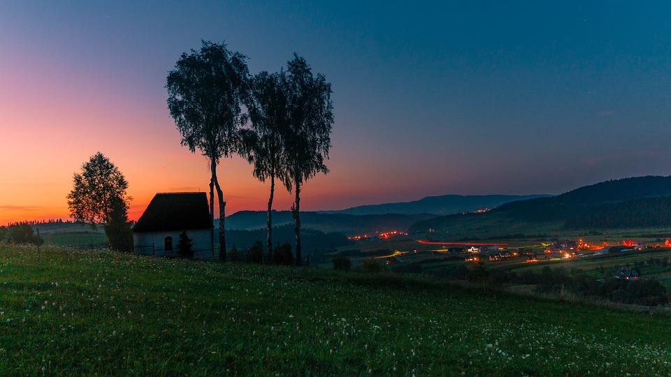 Chapel, Kacwin, Sunset, Religious Buildings, Mountains