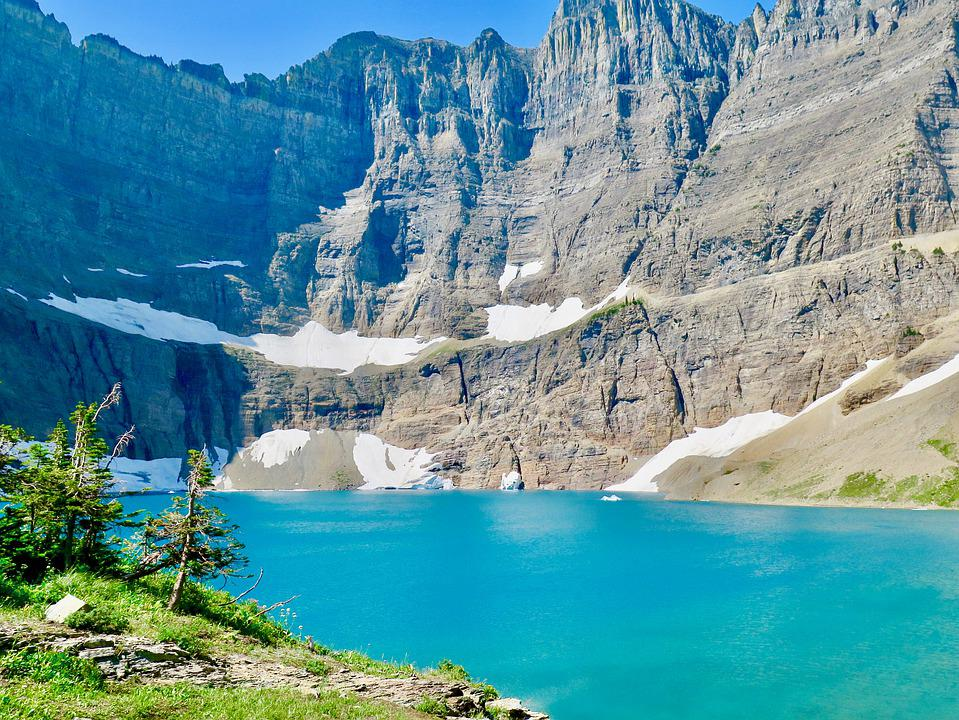 Free photo Mountains Lake Glacier National Park Iceberg Lake - Max ...