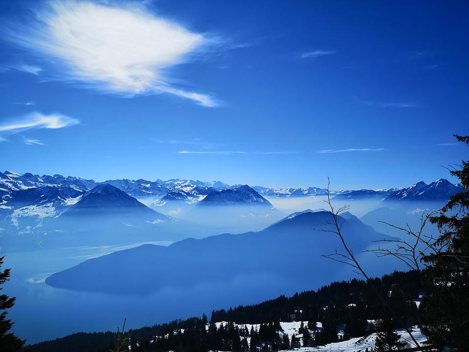 Mountains, Distant View, Lake, Light Snowfall, Sky