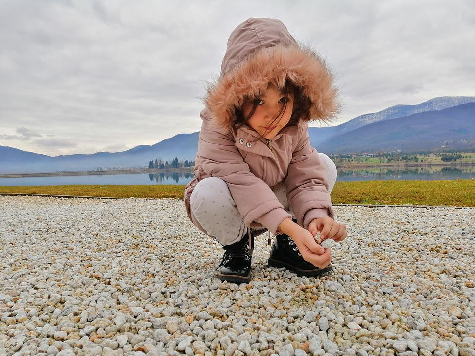 Girl, To Listen, Cold, Mountains, Lake, Sand, Water
