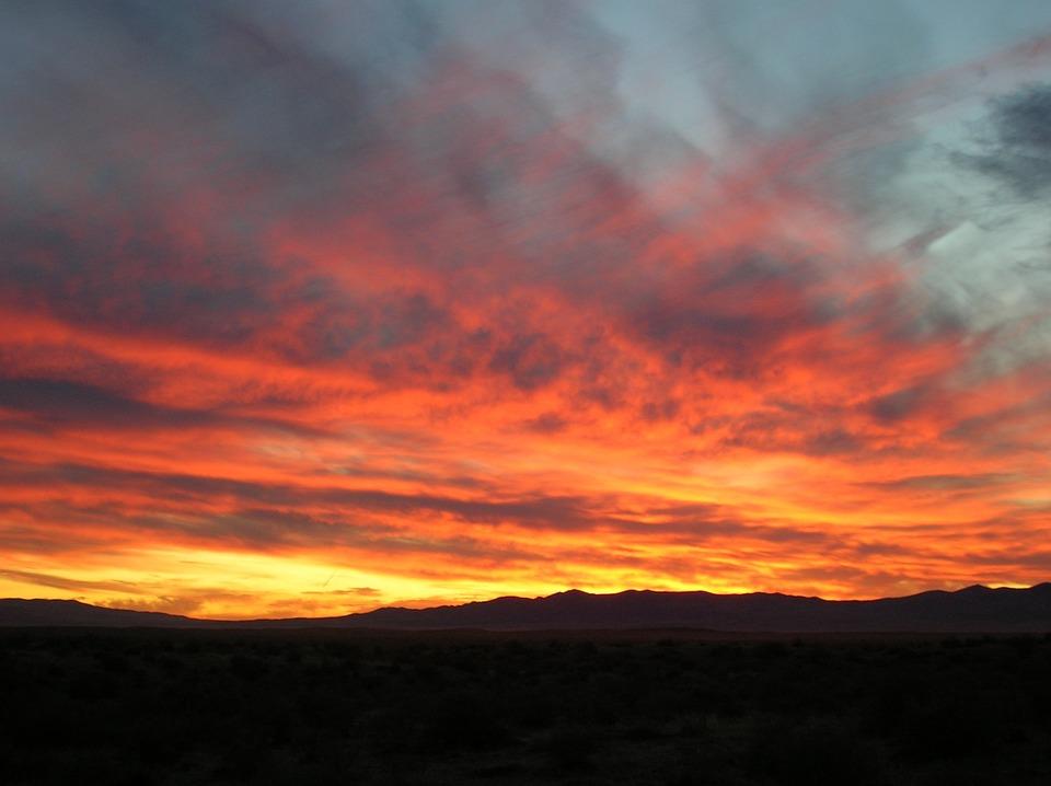 Sunset, Mountains, Bright, Landscape, Nature