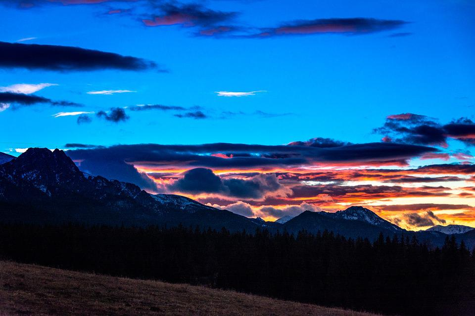Tatry, Sunset, Landscape, Mountains, Poland, Clouds