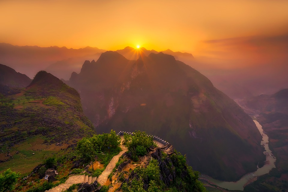 Vietnam, Mountains, River, Landscape, Sunset, Dusk