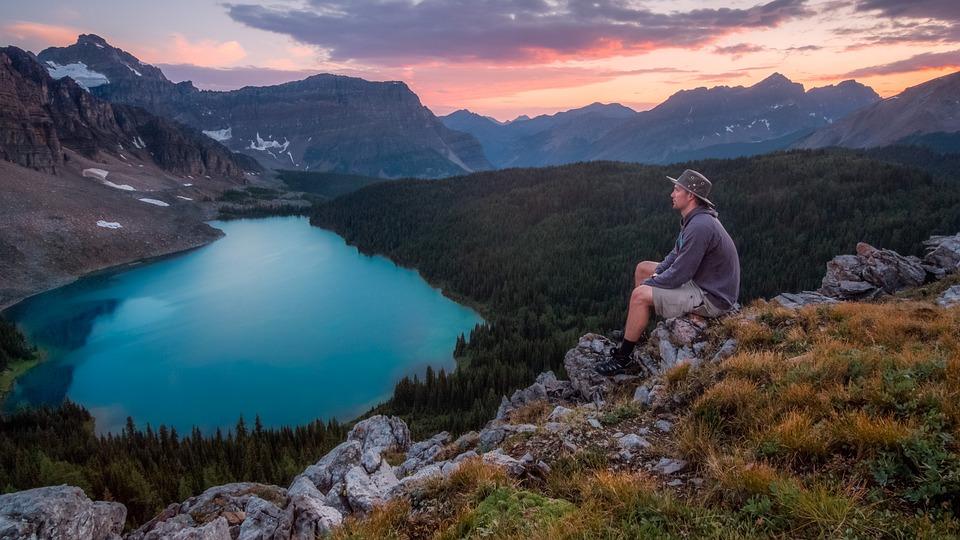 Hike, Lake, Landscape, Man, Mountain Range, Mountains