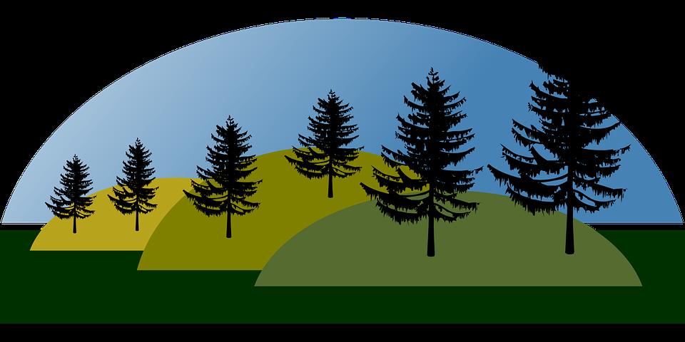 Hills, Landscape, Mountains, Nature, Trees