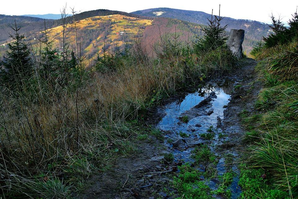Pool, Mud, Mountains, Trail, Landscape, Hiking Trail