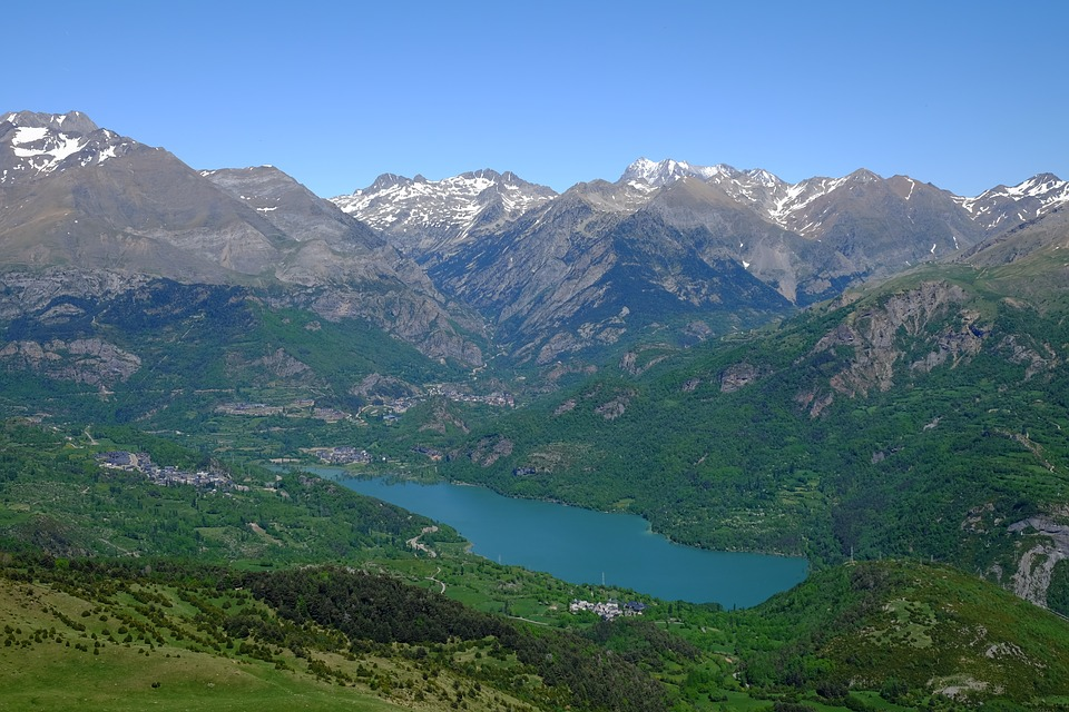 Pyrenees, Lake, Landscape, Mountains