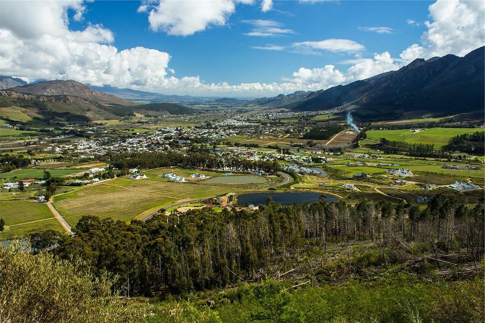 Landscape, Mountains, Town, Valleys, Fields, Green
