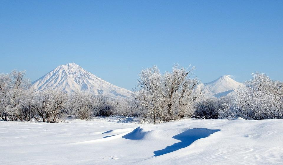 Volcanoes, Mountains, Winter, Snow, Frost, Leann, Trees